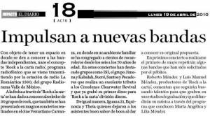 ROCKALACARTA Apoya a nuevas bandas - DIARIO IMPACTO 19 ABRIL 2010